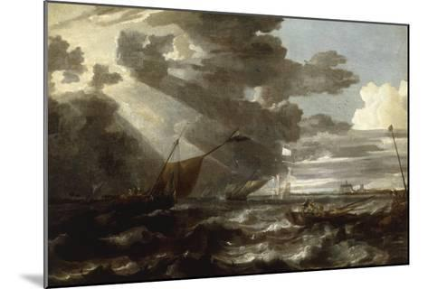 An Estuary Scene in a Gale, with Fishermen hauling in a Fixed Line-Bonaventura Peeters-Mounted Giclee Print