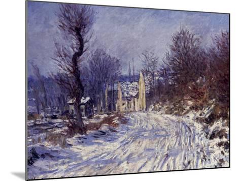 Route de Giverny en Hiver, 1885-Claude Monet-Mounted Giclee Print