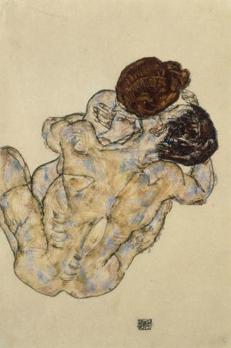 Umarmung (Embrace), 1917-Egon Schiele-Stretched Canvas Print