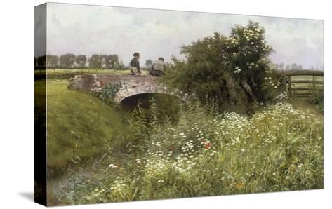 A Meeting on the Bridge-Emile Claus-Stretched Canvas Print