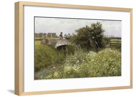 A Meeting on the Bridge-Emile Claus-Framed Art Print