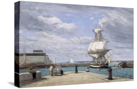 Honfleur, Le Port, c.1858-62-Eug?ne Boudin-Stretched Canvas Print
