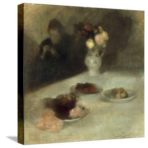 Interior with Woman Knitting-Eugene Carriere-Stretched Canvas Print