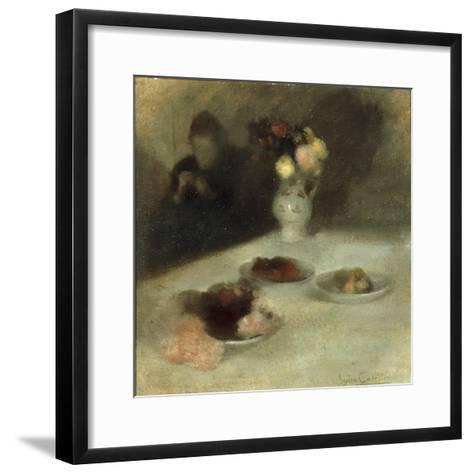 Interior with Woman Knitting-Eugene Carriere-Framed Art Print