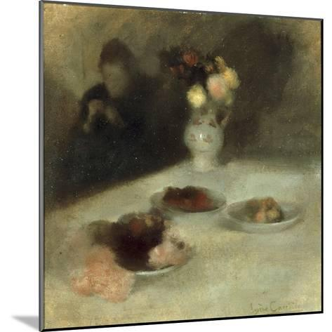 Interior with Woman Knitting-Eugene Carriere-Mounted Giclee Print
