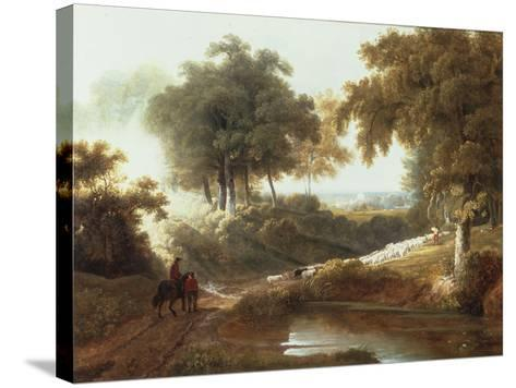 Landscape at Sunset with Drovers and Sheep on a Path-George Arnald-Stretched Canvas Print