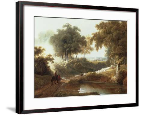 Landscape at Sunset with Drovers and Sheep on a Path-George Arnald-Framed Art Print