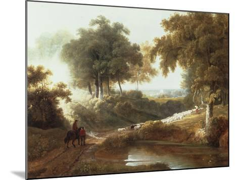 Landscape at Sunset with Drovers and Sheep on a Path-George Arnald-Mounted Giclee Print