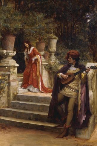 The Minstrel's Lay-George Sheridan Knowles-Stretched Canvas Print