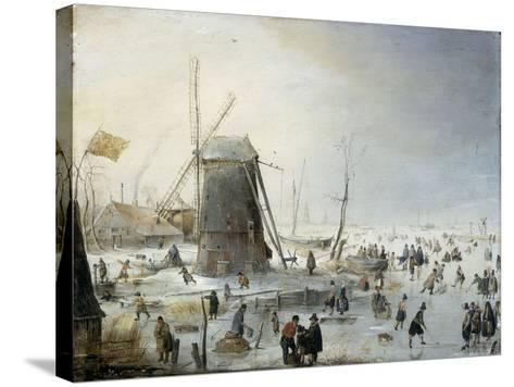 A Winter's Landscape with Skaters-Hendrik Avercamp-Stretched Canvas Print