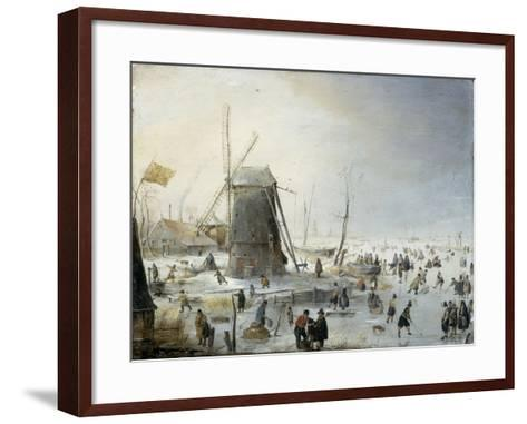 A Winter's Landscape with Skaters-Hendrik Avercamp-Framed Art Print