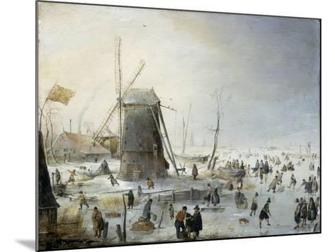 A Winter's Landscape with Skaters-Hendrik Avercamp-Mounted Giclee Print
