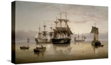 Men-of-War and other Shipping Anchored in a Calm, 1885-Henry Redmore-Stretched Canvas Print