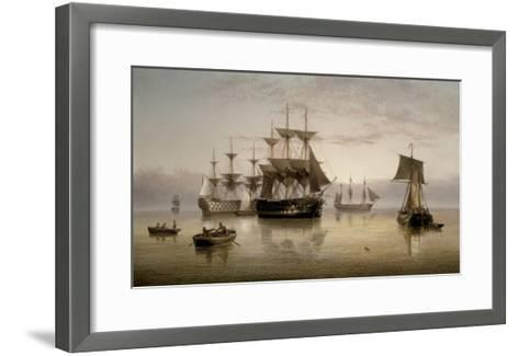 Men-of-War and other Shipping Anchored in a Calm, 1885-Henry Redmore-Framed Art Print