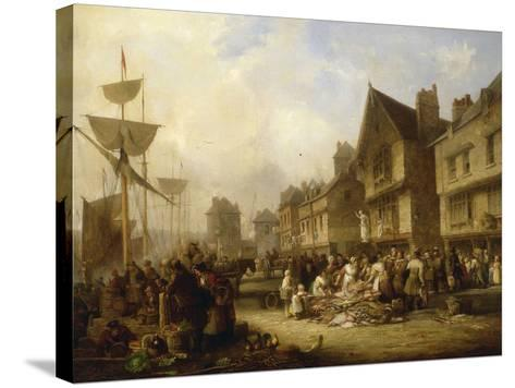 The Old Quayside, Newcastle, 1838-Henry Perlee Parker-Stretched Canvas Print