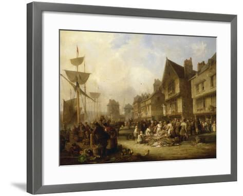 The Old Quayside, Newcastle, 1838-Henry Perlee Parker-Framed Art Print