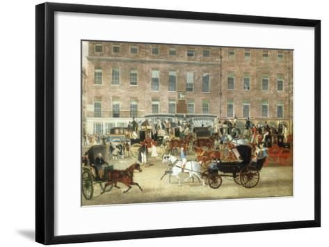 Hatchetts - The White Horse Cellar, Piccadilly, the Devonport Mail and a Barouche in the Foreground-James Pollard-Framed Art Print