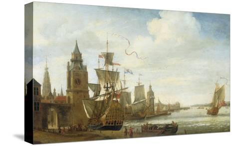 A Capriccio View of the Port of Antwerp-Jan Karel Donatus Van Beecq-Stretched Canvas Print