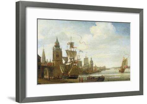 A Capriccio View of the Port of Antwerp-Jan Karel Donatus Van Beecq-Framed Art Print