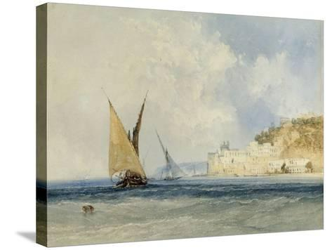 Shipping off the Mediterranean Coast, 1848-John Callow-Stretched Canvas Print
