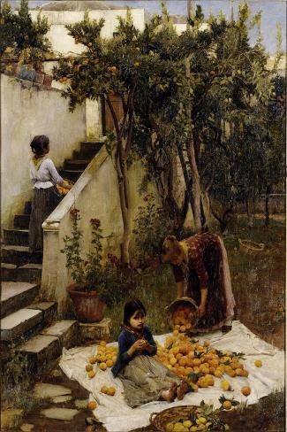 he Orange Gatherers-John William Waterhouse-Stretched Canvas Print