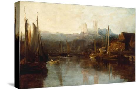 View of Lincoln Cathedral from the River-Peter De Wint-Stretched Canvas Print