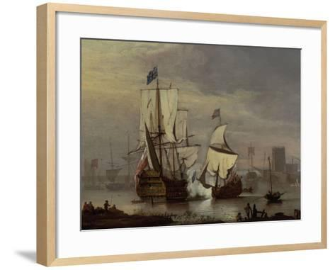 The Royal Sovereign at Rest on the Meadway below Rochester Castle, c.1704-1707-Peter Monamy-Framed Art Print