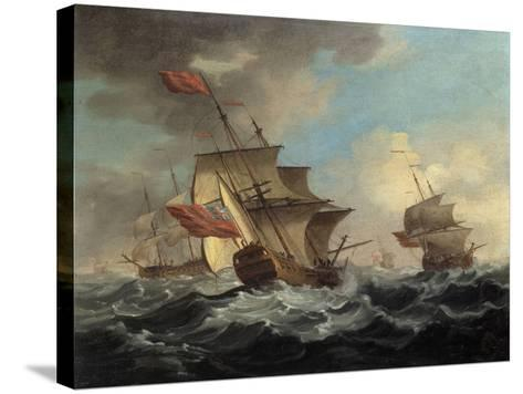 A British Man of War in a Strong Breeze with East Indiamen in the Distance-Peter Monamy-Stretched Canvas Print