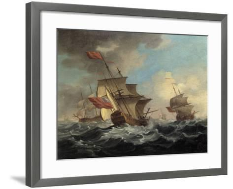 A British Man of War in a Strong Breeze with East Indiamen in the Distance-Peter Monamy-Framed Art Print