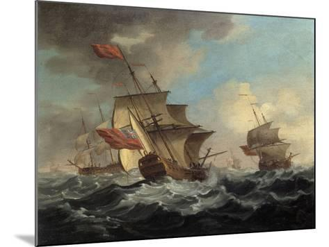 A British Man of War in a Strong Breeze with East Indiamen in the Distance-Peter Monamy-Mounted Giclee Print