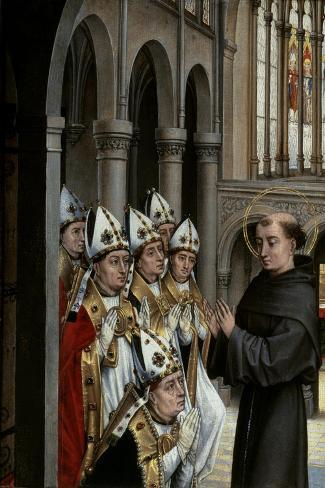A Franciscan Saint and Six Bishops-Rogier van der Weyden-Stretched Canvas Print