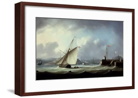 The Arrival of George IV at Leith Harbour-Thomas Buttersworth-Framed Art Print