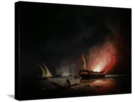A Frigate on Fire after a Battle, 1835-Thomas Buttersworth-Stretched Canvas Print