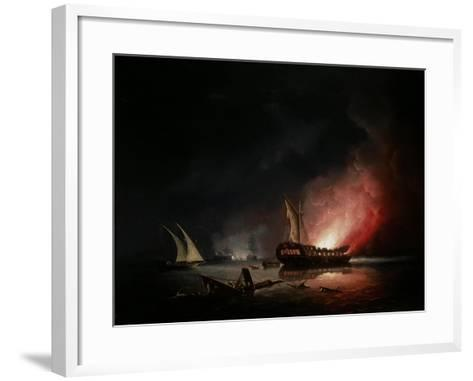 A Frigate on Fire after a Battle, 1835-Thomas Buttersworth-Framed Art Print