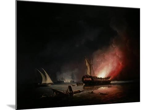 A Frigate on Fire after a Battle, 1835-Thomas Buttersworth-Mounted Giclee Print