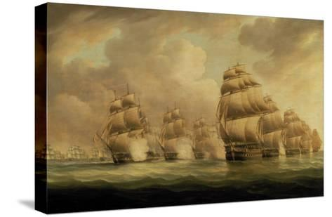 Action of Commodore Dance and the Comte de Linois off the Straits of Malacca, 15th February 1804-Thomas Buttersworth-Stretched Canvas Print