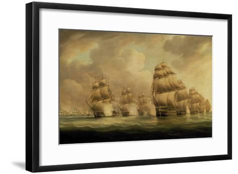 Action of Commodore Dance and the Comte de Linois off the Straits of Malacca, 15th February 1804-Thomas Buttersworth-Framed Art Print