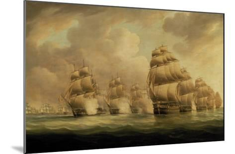 Action of Commodore Dance and the Comte de Linois off the Straits of Malacca, 15th February 1804-Thomas Buttersworth-Mounted Giclee Print