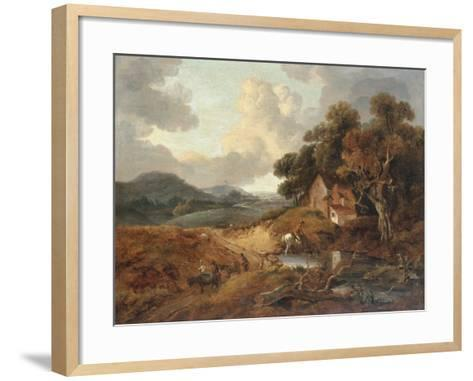 Landscape with Rustics and Donkeys on a Path-Thomas Gainsborough-Framed Art Print