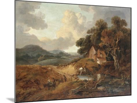 Landscape with Rustics and Donkeys on a Path-Thomas Gainsborough-Mounted Giclee Print