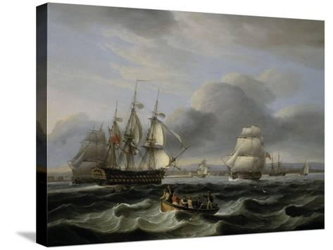 British Men of War and Other Shipping off Portsmouth Harbour, 1829-Thomas Luny-Stretched Canvas Print
