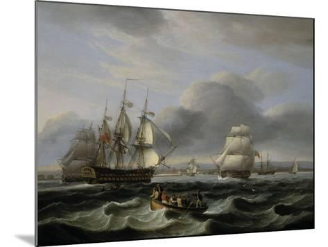 British Men of War and Other Shipping off Portsmouth Harbour, 1829-Thomas Luny-Mounted Giclee Print