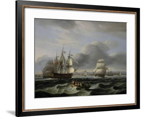 British Men of War and Other Shipping off Portsmouth Harbour, 1829-Thomas Luny-Framed Art Print