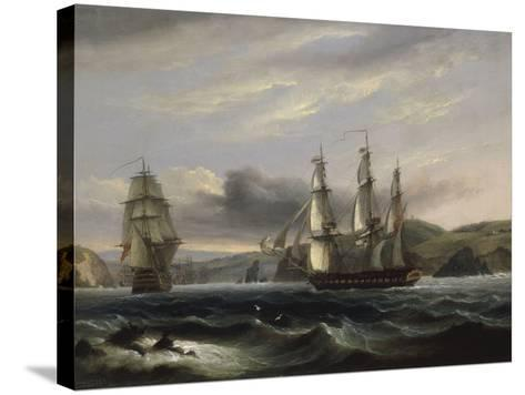 View up the Teign-Thomas Luny-Stretched Canvas Print