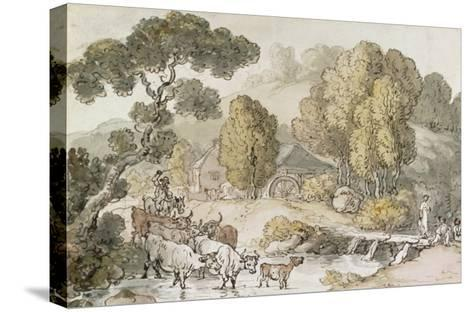 Cattle and Drover Fording a Stream-Thomas Rowlandson-Stretched Canvas Print
