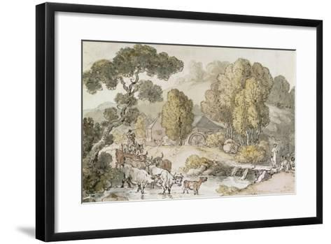 Cattle and Drover Fording a Stream-Thomas Rowlandson-Framed Art Print