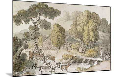 Cattle and Drover Fording a Stream-Thomas Rowlandson-Mounted Giclee Print