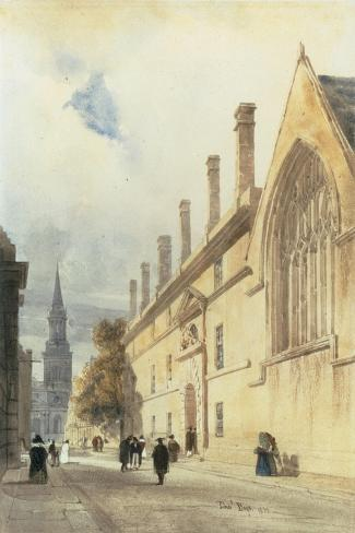 Jesus College from Thurl Street, Oxford, 1832-Thomas Shotter Boys-Stretched Canvas Print