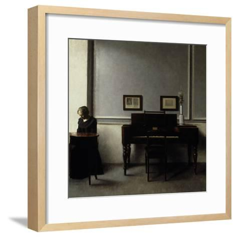 Interior-Vilhelm Hammershoi-Framed Art Print