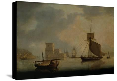 Naval Cutter by Belem Tower at the Mouth of the Tagus-William Anderson-Stretched Canvas Print
